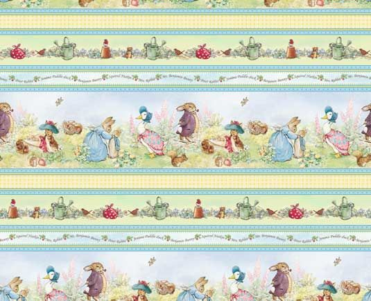 Dollhouse Miniature Blue Beatrix Potter Peter Rabbit Wallpaper 1:12 Nursery