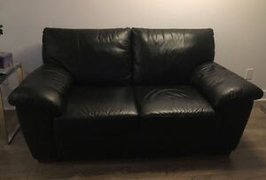 Black leather IKEA love seat in great condition