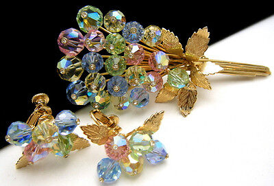 Beautiful Vintage Pastel Crystal Brooch Earring Set Easter Bouquet on Lookza