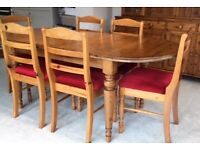 Ducal Victoria Pine Extendable Table with 6 Chairs