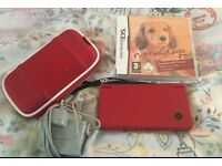 Red Nintendo Dsi with case charger and game