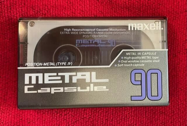 """Maxell Metal 90 vintage Capsule Cassette Tape """"New"""" Sealed! Made in Japan"""