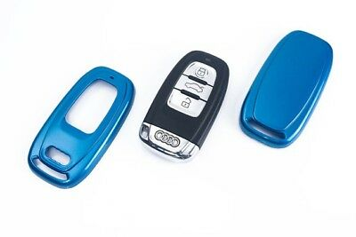 Audi Remote Key Cover Case Skin Shell Cap Fob Protection Bag Hull Metallic Blue