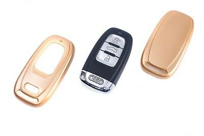 Audi Remote Key Cover Case Skin Shell Cap Fob Protection Bag Hull Gold Paint