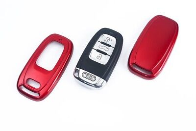 Audi Remote Key Cover Case Skin Shell Cap Fob Protection Bag Hull Metallic Red