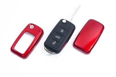 VW SEAT SKODA Remote Flip Key Cover Case Skin Shell Cap Fob Protection Red