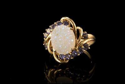 ANTIQUE ART NOUVEAU 10K GOLD DRUZY QUARTZ IOLITE RING for sale  Shipping to India