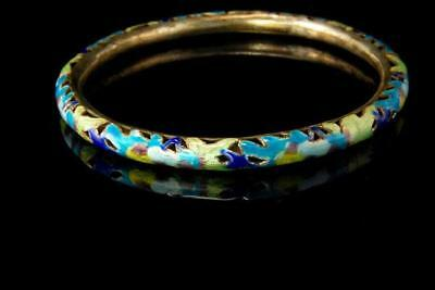 ANTIQUE CHINESE SILVER BLUE GREEN ENAMEL PIERCED BRACELET A805-155