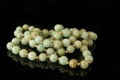 VINTAGE CHINESE GREEN JADE BEADS 14K GOLD NECKLACE D122-03
