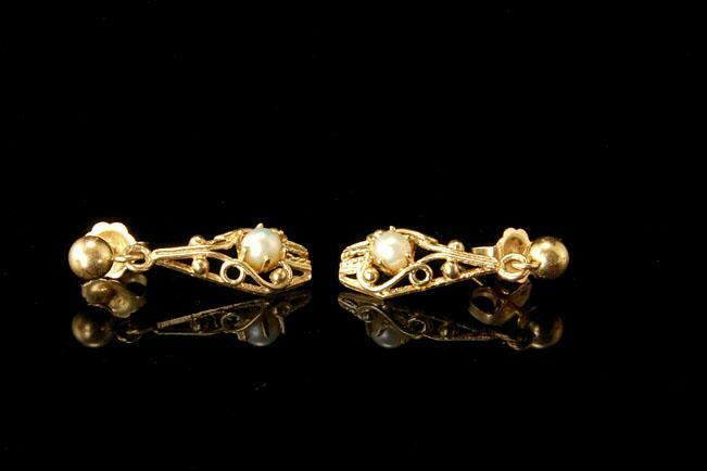 OLD VICTORIAN  STYLE 14K GOLD PEARL DANGLE EARRINGS  A70126