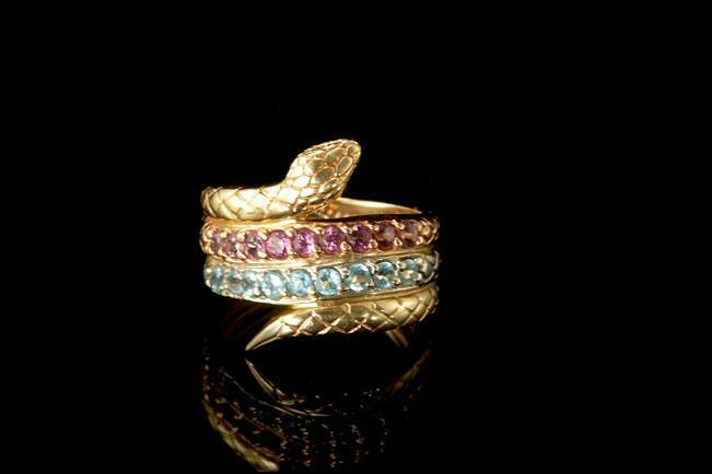 OLD PINK SAPPHIRE BLUE TOPAZ 3 COLORS 14K PINK WHITE YELLOW GOLD SNAKE RING  BR