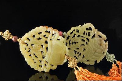 2 ANTIQUE CHINESE CARVED HARDSTONE MEDALLIONS AMULETS TASSELS