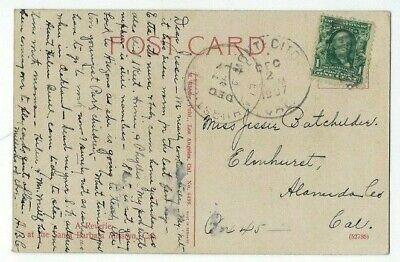 1907 Montecito California to Elmhurst CA, Mission PPC, Uncommon (Elmhurst Ca)