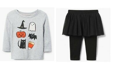 NWT Gymboree Halloween Shop Pumpkin Ghost Tee Tutu Leggings Baby Toddler Girl