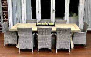 WICKER OUTDOOR DINING SETTING,8SEATS,ACACIAWOOD,WICKERCHAIRS EX D