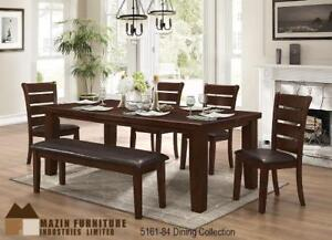 Solid Dining Set with bench and 4 chairs (MA514)