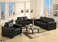 Bonded Leather Sofa in BLACK, WHITE or GREY LINEN