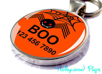 Halloween Custom ID Pet Tags Personalized for Dogs & Cats ORANGE Spooky Spider](Tags For Halloween)