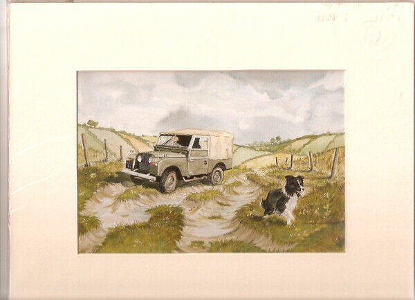 Border Collie and Truck Matted Art Print by UK Artist Graham Chambers*