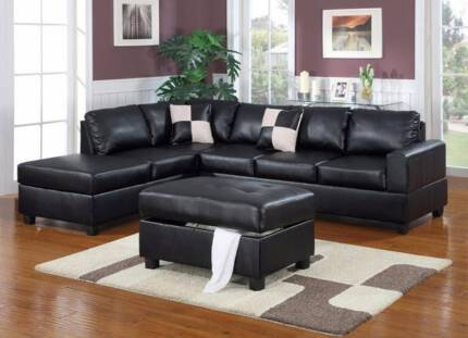 ***BRAND NEW***BONDED LEATHER CHAISE SOFA FREE OTTOMAN
