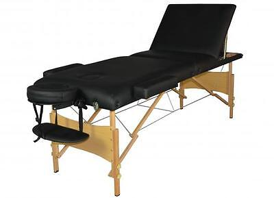 Black 3 Section Portable Massage Table Facial SPA Bed Tattoo w/Carry Case  T3