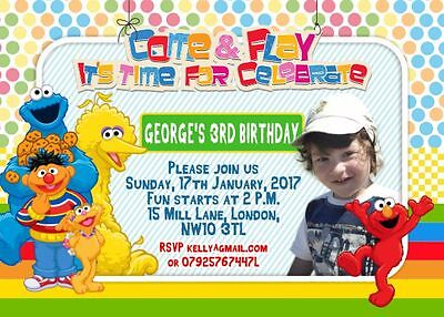 Sesame Street Photo Invitations (10 x Personalised Photo Birthday Party Invitations/Thank you Cards SESAME)