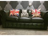 Stunning Chesterfield 3 Seater Sofa in Green Leather Low Back Couch - UK Delivery