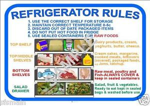 Refrigerator fridge rules kitchen cafe restaurant coffee for 8 kitchen safety rules