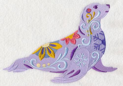 Embroidered Ladies Fleece Jacket - Flower Power Seal L8734 Size S - XXL
