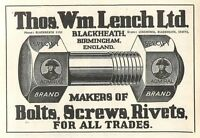 1953 Thos Wm Lench Bolts Blackheath Ad -  - ebay.co.uk