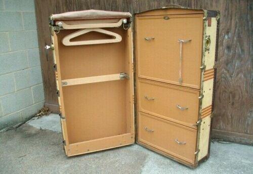 WARDROBE TRUNK Vintage Steamer RR w/Drawers Hangers Keys Crouch & Fitzgerald NY