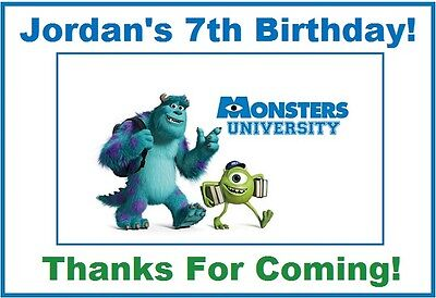 (9)Personalized Monsters University Party Stickers,3 1/4