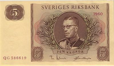 Schweden / Sweden 5 Kronen 1954-61 Pick 42