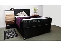 Black double divan bed with foot end drawer and 2000 pocket sprung mattress in good condition