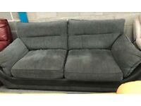 Charcoal grey fabric 3 seater sofa