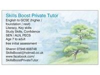 Private English Tutor for age 7 to GCSE (higher/foundation/resit) Literacy/Key skills/confidence