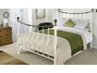 King size Bedframe - gold & white metal - bensons for beds