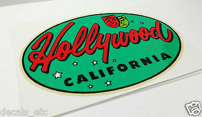 Hollywood California, Vintage Style Travel Decal / Vinyl Sticker, Luggage Label