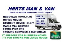 MAN AND VAN HIRE HOUSE AND OFFICE REMOVALS CONTRACT HIRE MAN WITH A VAN HERTFORDSHIRE HOUSE MOVING