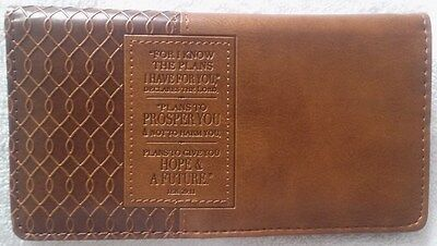 Mens Women's Christian I KNOW THE PLANS JER 29 LUX LEATHER Brown CHECKBOOK COVER