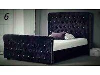 ***New***Stylish Sleigh Chesterfield Designer Crushed Velvet King Size Bed (07440 332255)
