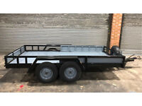 "Twin axle braked heavy duty car transporter trailer 1950kg capacity - 138x72"" or 3.55x1.83m bed"