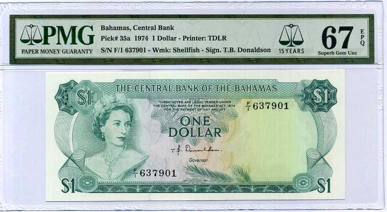 BAHAMAS 1 DOLLAR 1974 P 35 a QE II 15TH SUPERB GEM UNC PMG 67 EPQ HIGH