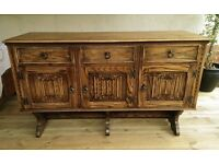 Priory/ Old Charm style, 3 door solid oak sideboard