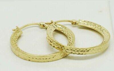 HOOPS EARRINGS DIAMOND CUT DESIGN 14K GOLD * Highest Bidder Win the -