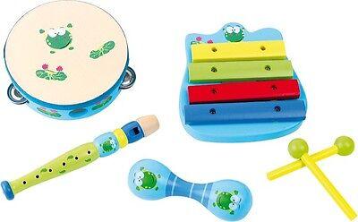 Musikset Frosch Holz Instrument Musik Set Instrumente für Kinder Spielzeug Neu