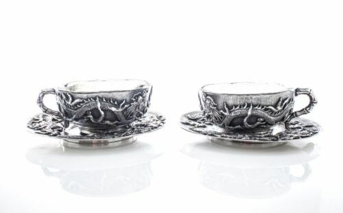 Antique Chinese export silver set two teacups and two plates