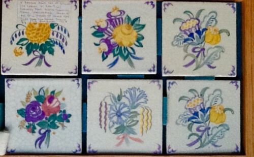 AGATHA CHRISTIE OWNED CARTER TILL POTTERY POOLE 6  TILES WINTERBROOK HOUSE