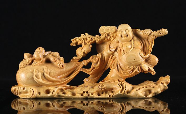 JP062 -- 11 CM  Long Carved Boxwood Figurine Carving : Wealthy Buddha
