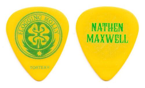 Flogging Molly Nathen Maxwell Signature Yellow/Green Guitar Pick - 2014 Tour